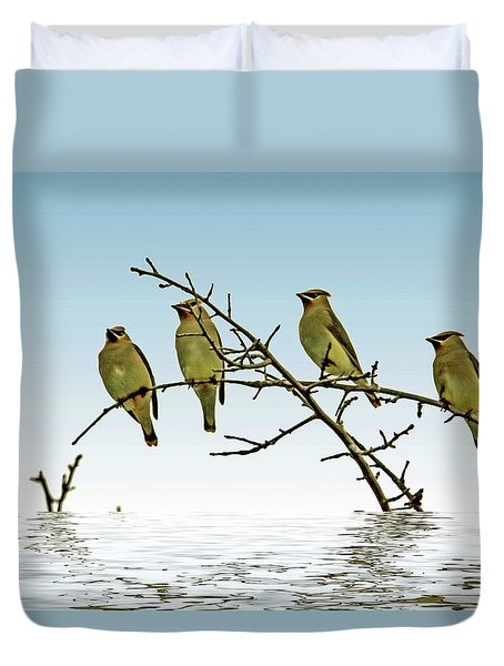 Cedar Waxwings On A Branch Duvet Cover by Geraldine Scull