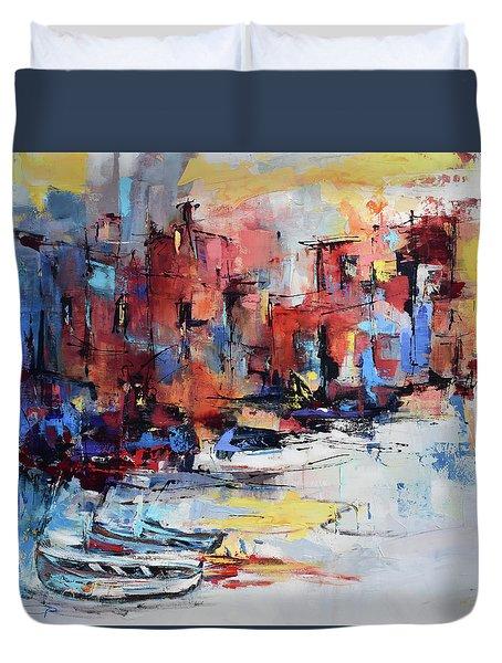 Cefalu Seaside Duvet Cover by Elise Palmigiani
