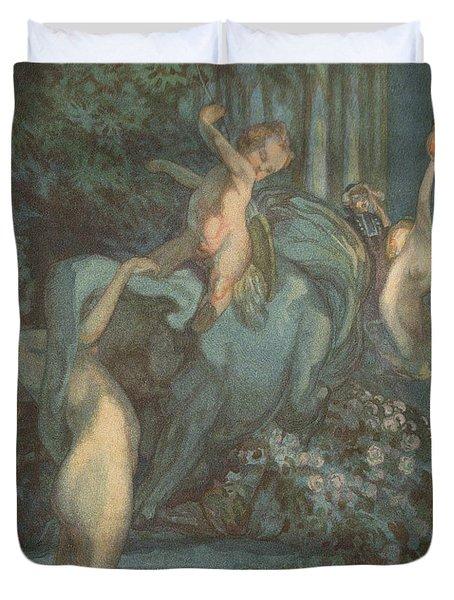Centaur Nymphs And Cupid Duvet Cover by Franz von Bayros