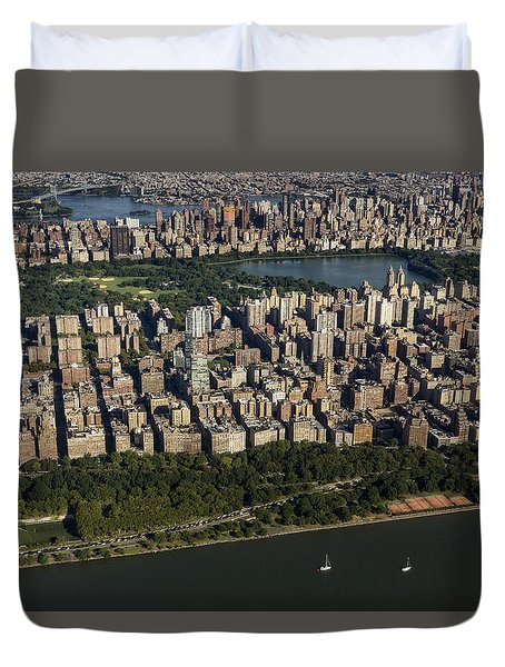 Central Park Nyc Aerial View Duvet Cover by Susan Candelario