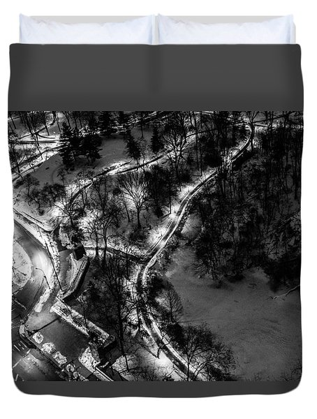Duvet Cover featuring the photograph Central Park Trails by M G Whittingham