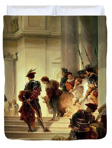 Cesare Borgia Leaving The Vatican Duvet Cover by Giuseppe Lorenzo Gatteri