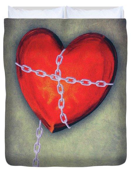Chained Heart Duvet Cover by Jeff Kolker