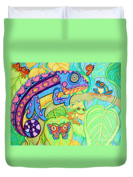 Chamelion And Rainforest Frogs Duvet Cover by Nick Gustafson