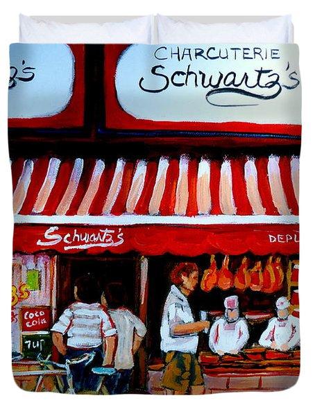 Charcuterie Schwartz's Deli Montreal Duvet Cover by Carole Spandau