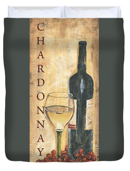 Chardonnay Wine And Grapes Duvet Cover by Debbie DeWitt