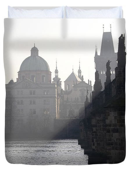Charles bridge at early morning Duvet Cover by Michal Boubin