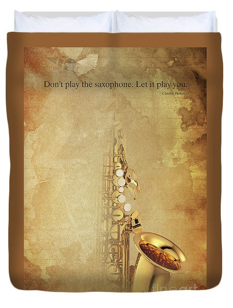 Charlie Parker Saxophone Brown Vintage Poster And Quote, Gift For Musicians Duvet Cover by Pablo Franchi