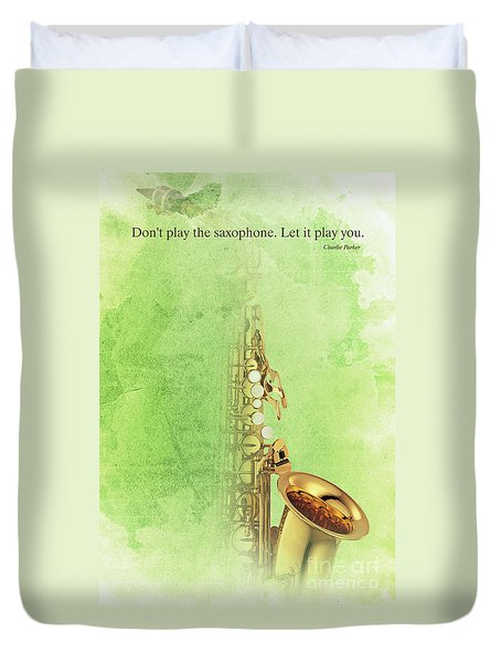 Charlie Parker Saxophone Green Vintage Poster And Quote, Gift For Musicians Duvet Cover by Pablo Franchi