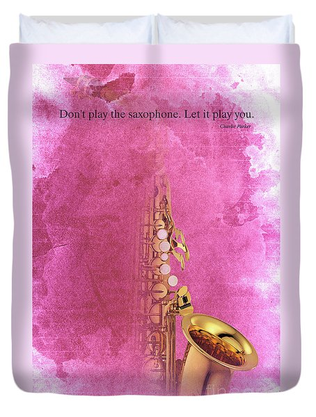 Charlie Parker Saxophone Light Red Vintage Poster And Quote, Gift For Musicians Duvet Cover by Pablo Franchi