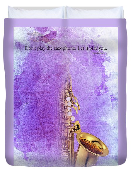 Charlie Parker Saxophone Purple Vintage Poster And Quote, Gift For Musicians Duvet Cover by Pablo Franchi