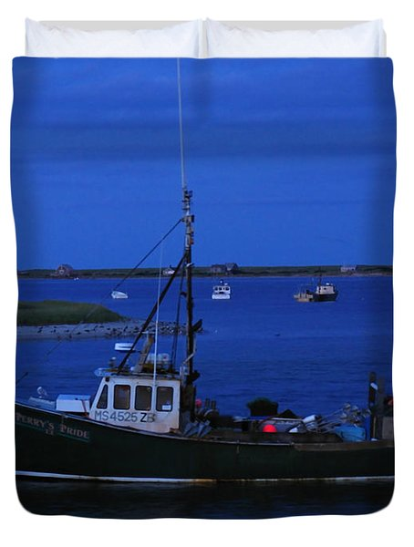 Chatham Pier Fisherman Boat  Duvet Cover by Juergen Roth