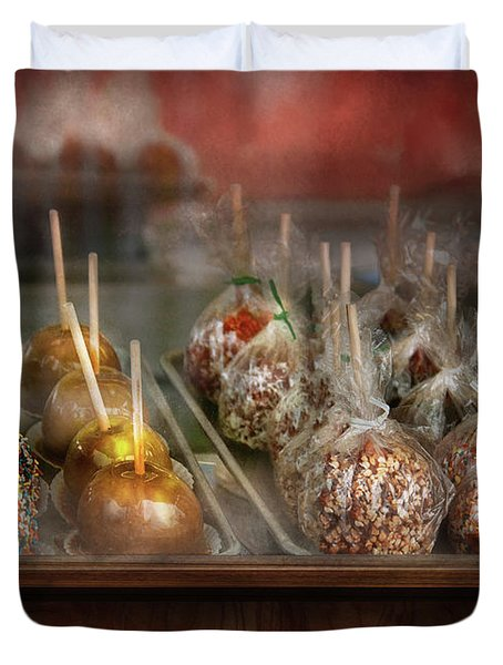 Chef - Caramel Apples For Sale Duvet Cover by Mike Savad