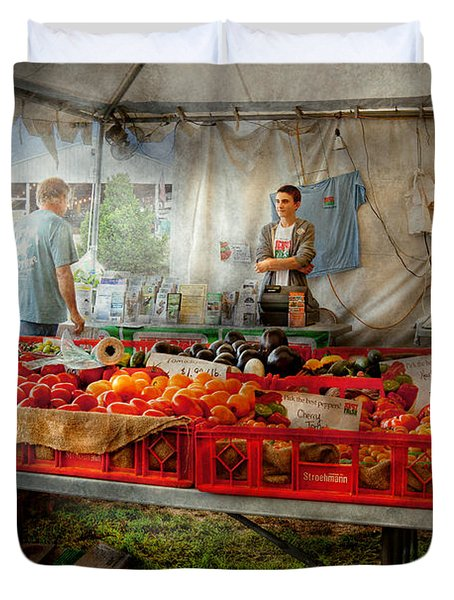Chef - Vegetable - Jersey Fresh Farmers Market Duvet Cover by Mike Savad