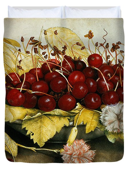 Cherries And Carnations Duvet Cover by Giovanna Garzoni