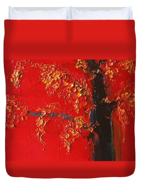 Cherry Blossom Tree - Red Yellow Duvet Cover by Patricia Awapara