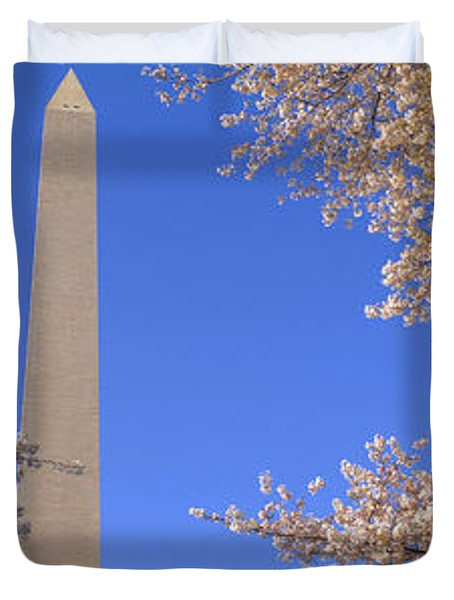 Cherry Blossoms And Washington Duvet Cover by Panoramic Images