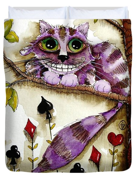 Cheshire Cat Duvet Cover by Lucia Stewart