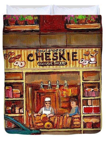 Cheskies Hamishe Bakery Duvet Cover by Carole Spandau