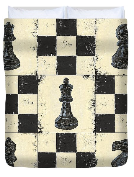 Chess Pieces Duvet Cover by Debbie DeWitt