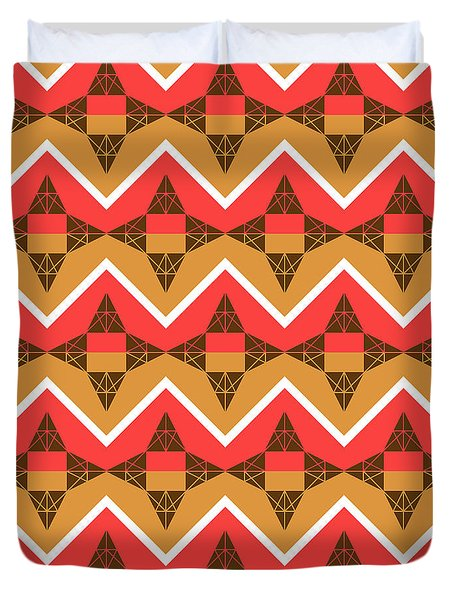 Chevron And Triangles Duvet Cover by Gaspar Avila