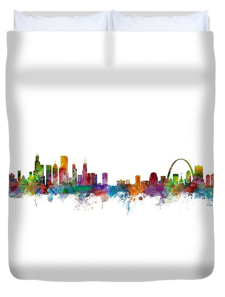 Chicago And St Louis Skyline Mashup Duvet Cover by Michael Tompsett