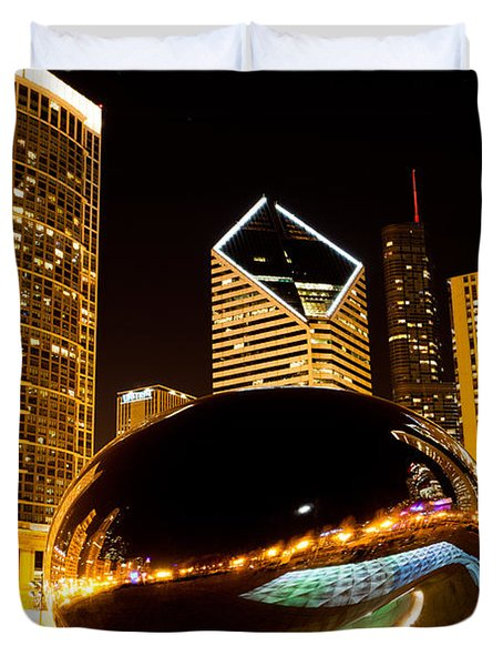 Chicago Bean Cloud Gate At Night Duvet Cover by Paul Velgos