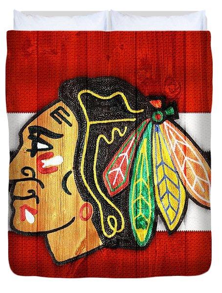 Chicago Blackhawks Barn Door Duvet Cover by Dan Sproul