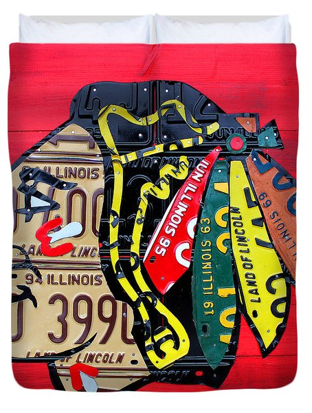 Chicago Blackhawks Hockey Team Vintage Logo Made From Old Recycled Illinois License Plates Red Duvet Cover by Design Turnpike