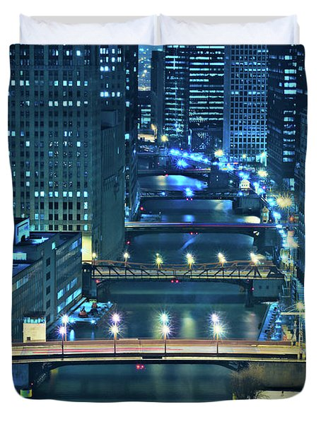 Chicago Bridges Duvet Cover by Steve Gadomski