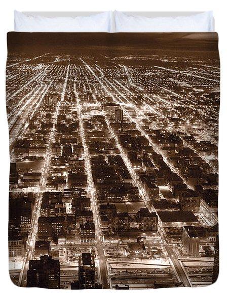 Chicago City Lights West B W Duvet Cover by Steve Gadomski