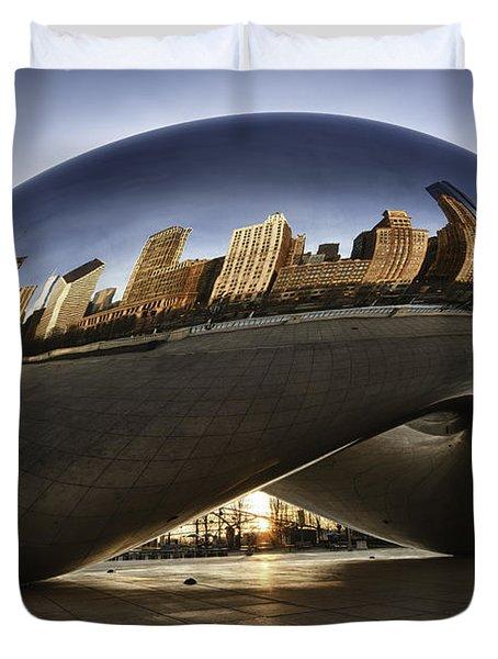 Chicago Cloud Gate At Sunrise Duvet Cover by Sebastian Musial