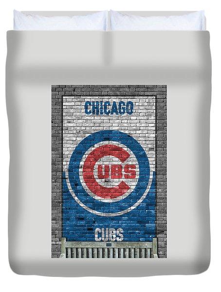 Chicago Cubs Brick Wall Duvet Cover by Joe Hamilton