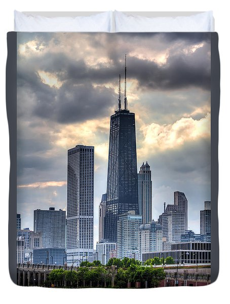 Chicago From The Pier Duvet Cover by Joshua Ball