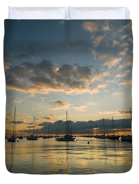 Chicago Harbor Sunrise Duvet Cover by Steve Gadomski