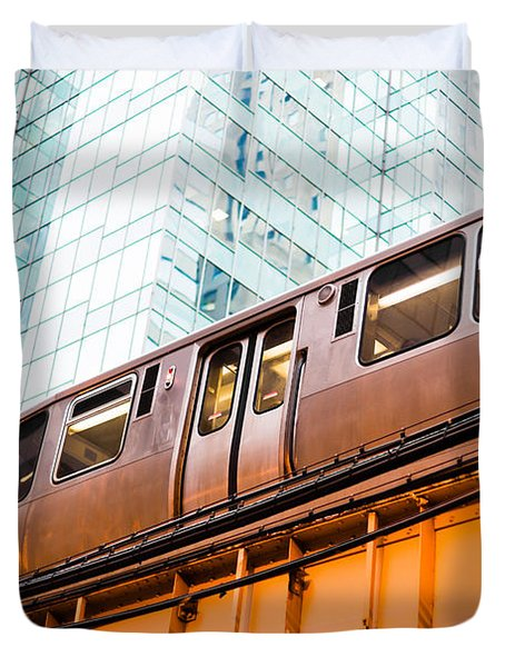 Chicago L Elevated Train  Duvet Cover by Paul Velgos