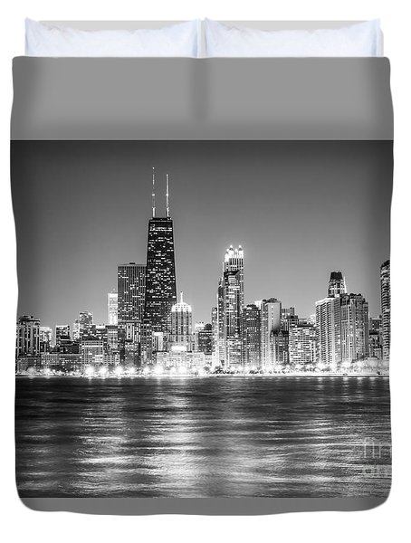 Chicago Lakefront Skyline Black And White Photo Duvet Cover by Paul Velgos
