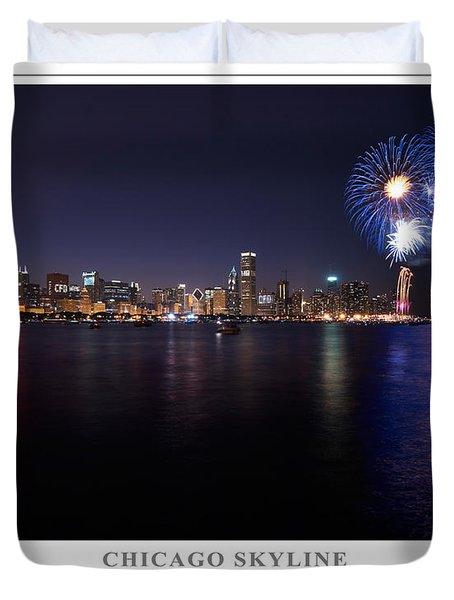 Chicago Lakefront Skyline Poster Duvet Cover by Steve Gadomski