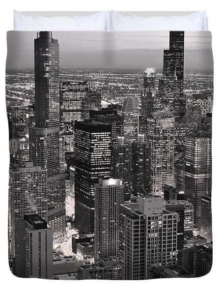 Chicago Loop Sundown B and W Duvet Cover by Steve Gadomski