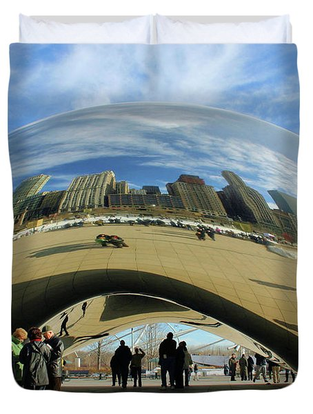 Chicago Reflected Duvet Cover by Kristin Elmquist