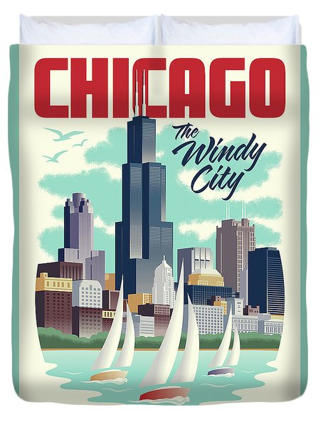 Chicago Retro Travel Poster Duvet Cover by Jim Zahniser