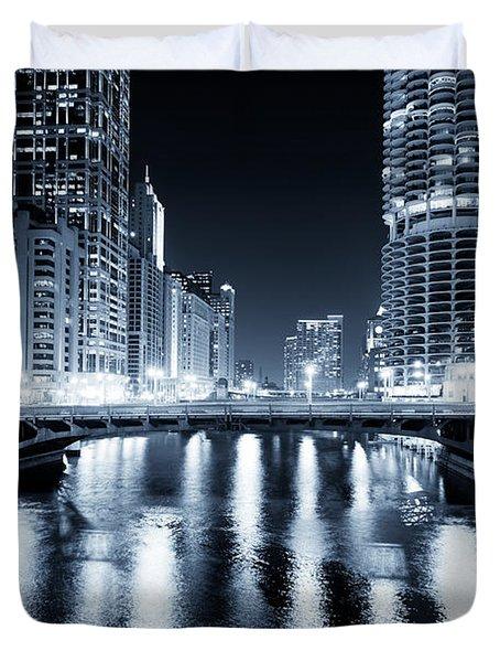 Chicago River At State Street Bridge Duvet Cover by Paul Velgos