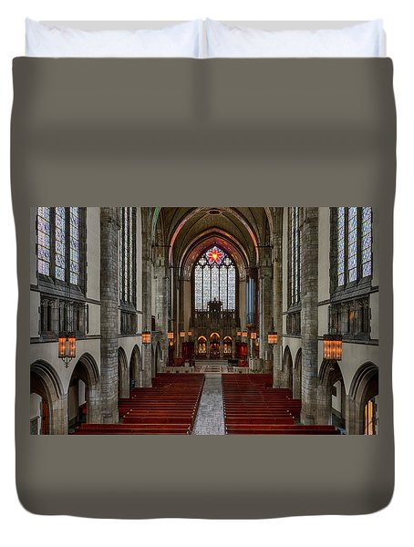 Chicago Rockefeller Chapel Duvet Cover by Mike Burgquist