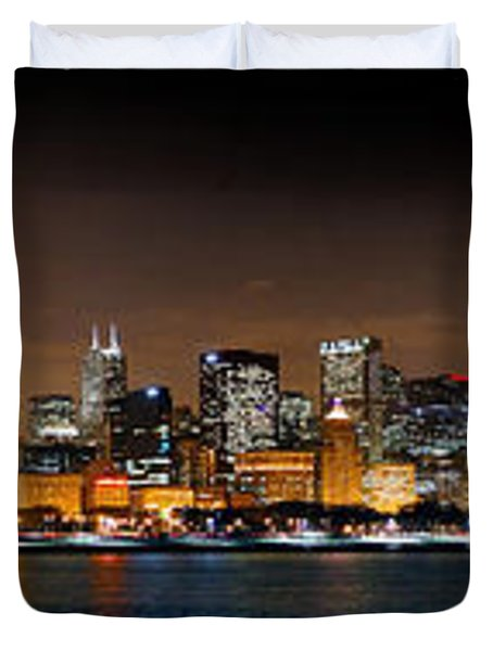 Chicago Skyline At Night Extra Wide Panorama Duvet Cover by Jon Holiday