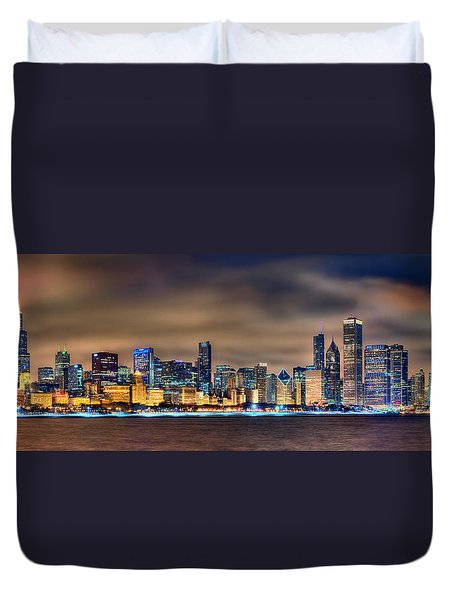 Chicago Skyline At Night Panorama Color 1 To 3 Ratio Duvet Cover by Jon Holiday