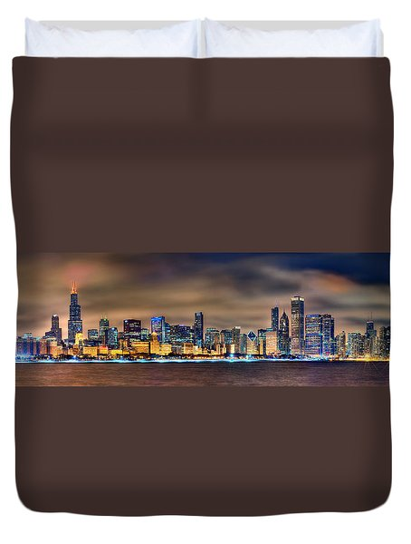 Chicago Skyline At Night Panorama Duvet Cover by Jon Holiday
