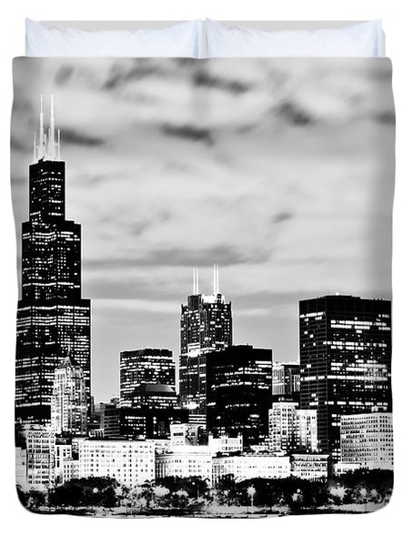 Chicago Skyline At Night Duvet Cover by Paul Velgos