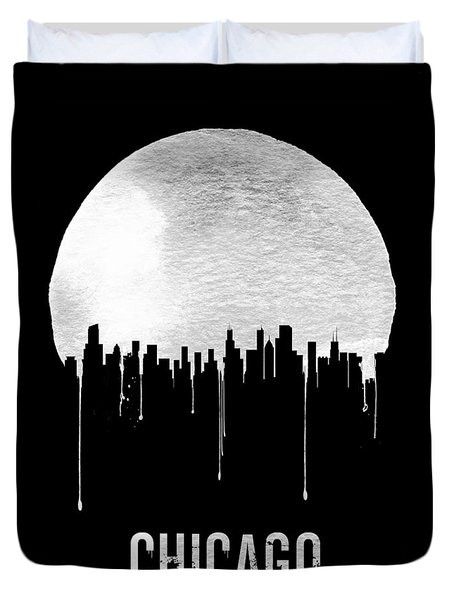 Chicago Skyline Black Duvet Cover by Naxart Studio