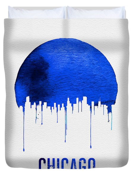 Chicago Skyline Blue Duvet Cover by Naxart Studio