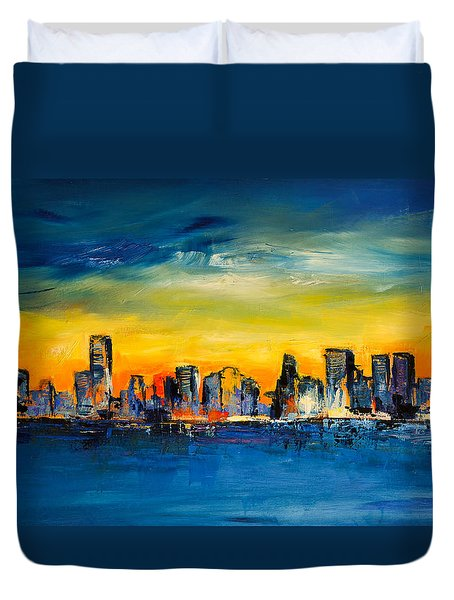 Chicago Skyline Duvet Cover by Elise Palmigiani